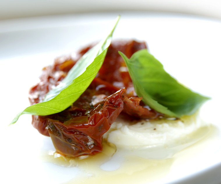 mediterranean snack with fresh basil