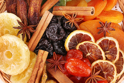 Dried fruits with cinnamon and anise stars close-up