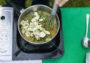 polenta con tonno disidratato e zucchine crudiste
