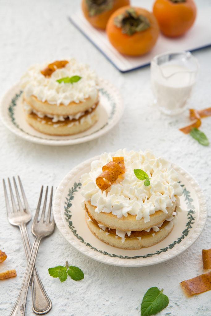 cheesecake con sfoglia di cachi essiccati