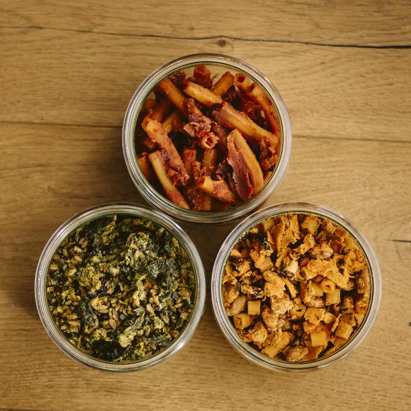 Amatriciana (alto), Pasta fagioli e cozze (destra), Zuppa di farro con cime di rapa e speck (sinistra)